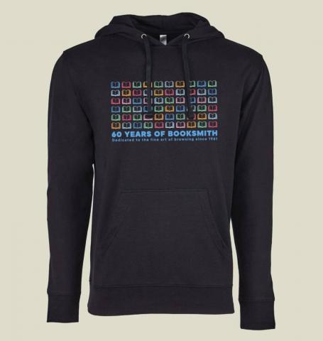 Booksmith 60th Anniversary Black French Terry Pullover Hoodie